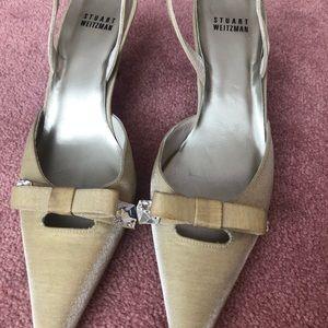 Stuart Weitzman Shoes - Stuart Weitzman Beige Satin Slingback